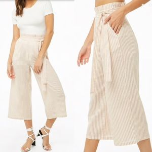 NWT Forever 21 Beige Striped Paperbag Culottes
